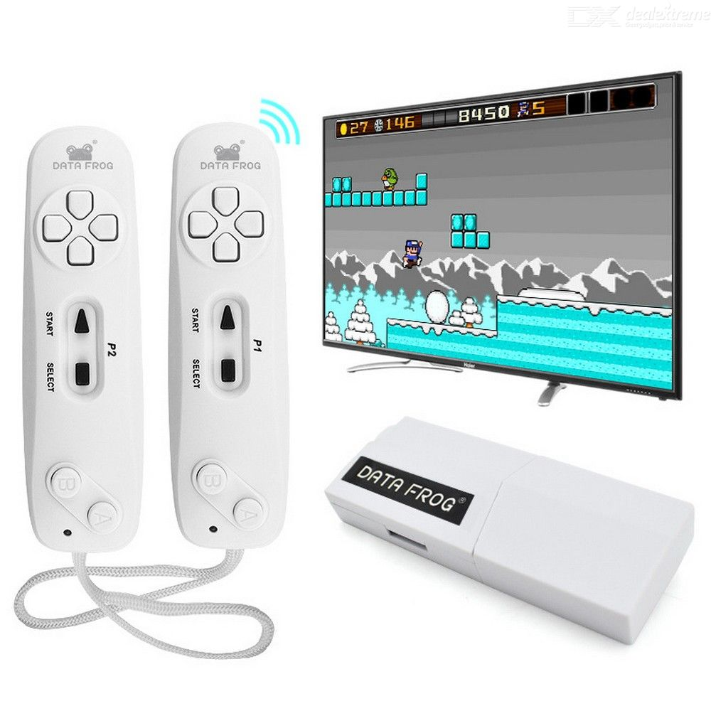DATA FROG Y2 Wireless TV Video Game Console With 2 Game Controllers And 620 Classic Games