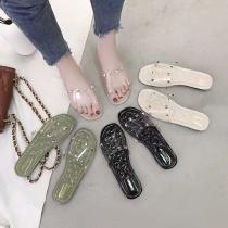 Womens-Flat-Slides-Cute-Slip-on-Sandals-With-Clear-Upper