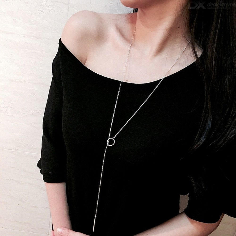 Metal Bar Circle Pendant Necklace Simple Long Chain Jewelry For Women - Silver