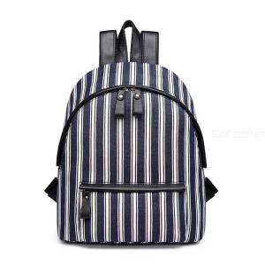 Striped School Backpack Lightweight Travel Bag with Large Capacity for Men Women