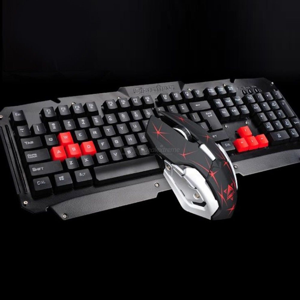 2.4G Wireless Keyboard Mouse Set Gaming Mouse Keyboard With Metal Panel For Home Office Gaming PC Desktop Notebook