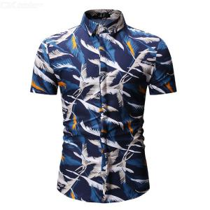 Summer Male Casual  Print  Shirt  Cotton Short Sleeve Dark Blue Shirts With  Long Feather Pattern  For  Men