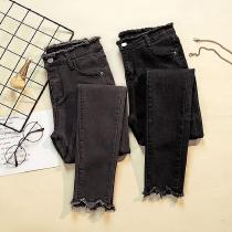 Frayed Skinny Jeans Mid-rise Butt Lifting Full Length Pencil Pants With Wave Cut Trousers Legs For Women