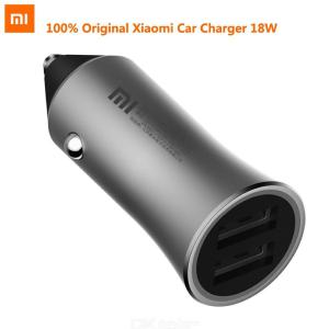 Original Xiaomi Car Charger 18W Fast Charging Dual USB For iPhone Galaxy and More - Grey