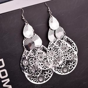 Retro Style Dangle Earrings Set Classy Hollow-out Floral Ear Drop