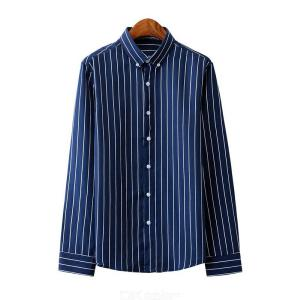 Striped Button Down Shirts Regular Fit Long Sleeve Shirt Casual Tops For Men