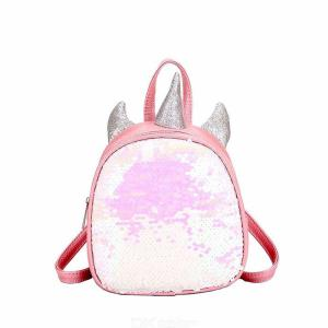Children 3D Unicorn Backpack Fashion Cute Cartoon PU Leather School Bag With Shiny Sequin Decoration For Girls