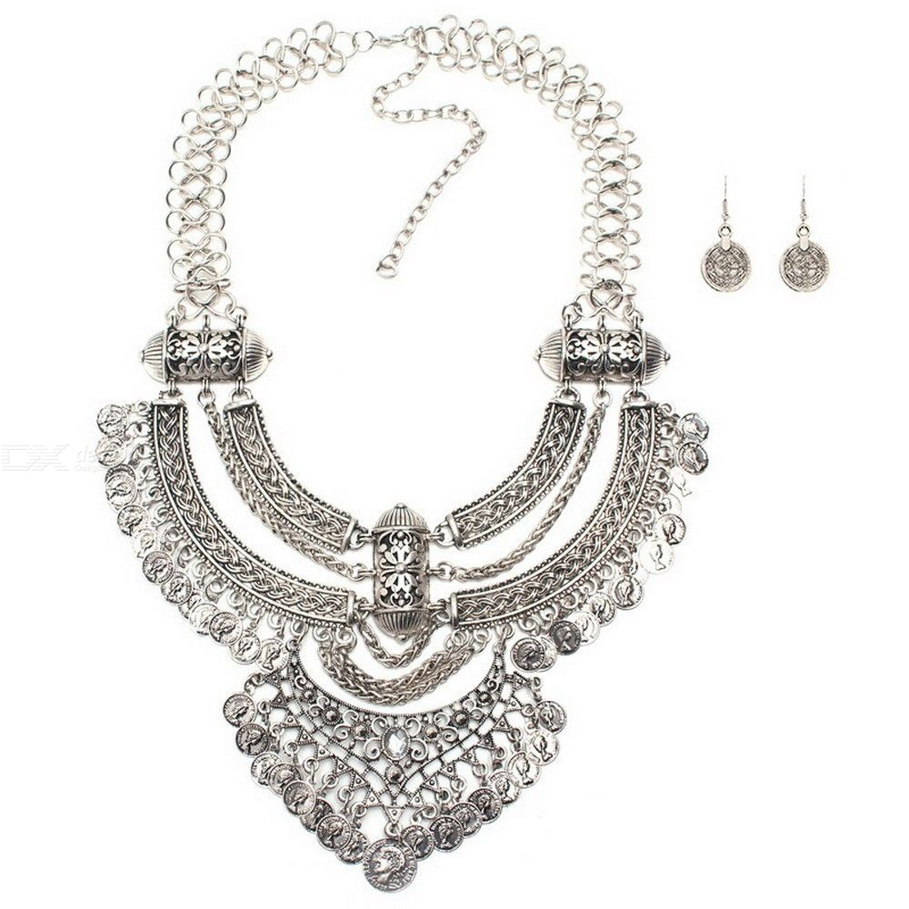 Womens Luxurious Jewel Set Extravagant Multi-layered Necklace Earrings