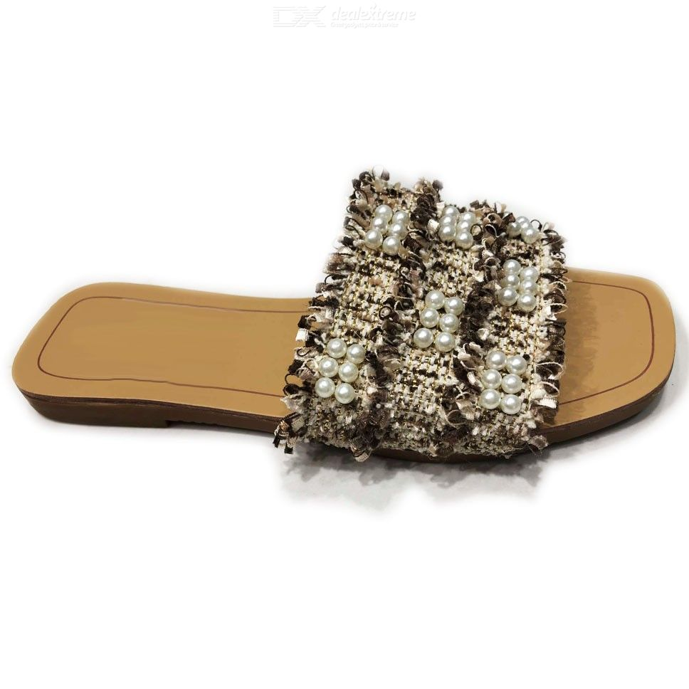 Womens Beaded Slippers Stylish Casual Square Heel Flats