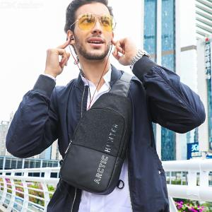 Men's Chest Bag Water Resistant Crossbody Shoulder Bag With Earphones Hole For Travel Sport Daily Use - Black