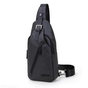 Men's Chest Bag Waterproof Crossbody Shoulder Bag With Earphones Hole For Travel Sport Daily Use - Black