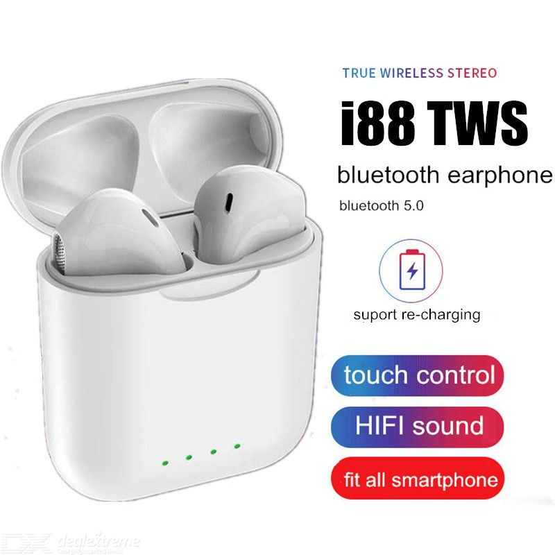 I88-TWS Bluetooth 5.0 Wireless Earphones Waterproof Touch Control Headphones With Mic Charging Case For Apple Android