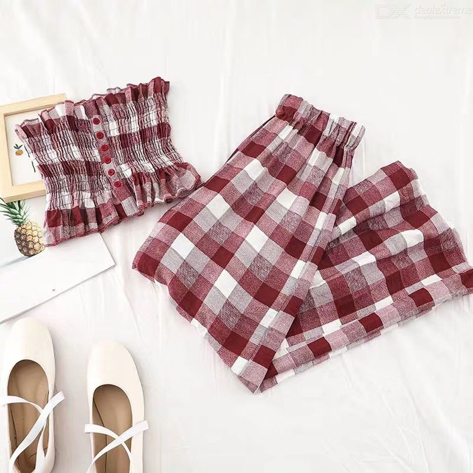 Womens Two Piece Outfit Classic Plaid Tube Top And Pants