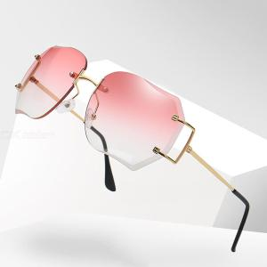 Fashion Sunglasses Frameless Rectangle UV400 Eyewear With Alloy Temple Silicone Nose Pad For Women