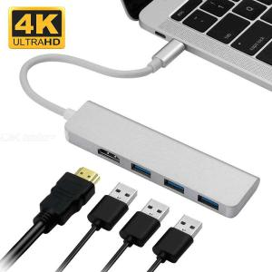 Olygus 4 in 1 USB-C Hub, Type-C Adapter To HDMI, 3 USB 3.0, Portable USB C Dongle For MacBook Pro 201820172016 Chromebook