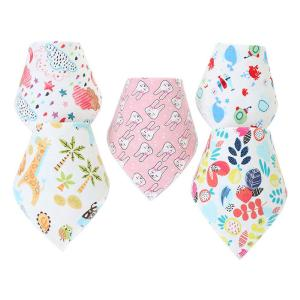 Cute Cartoon Triangle Shape Baby Bibs Fashion Cotton Double-layer Infant Mouth Towel  With Adjustable Dark Buckle
