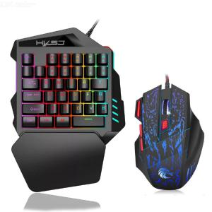 Mechanical Single Hand Wired  Keyboard Mouse Suit  Multicolor Ergonomic Gaming Keyboard Mouse Combo  For  PC  Laptop