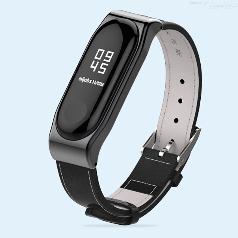 Xiaomi Mi Band 3 PU Leather Strap Wristband Replacement Metal Strap Smart Band Accessories For Millet Bracelet 3
