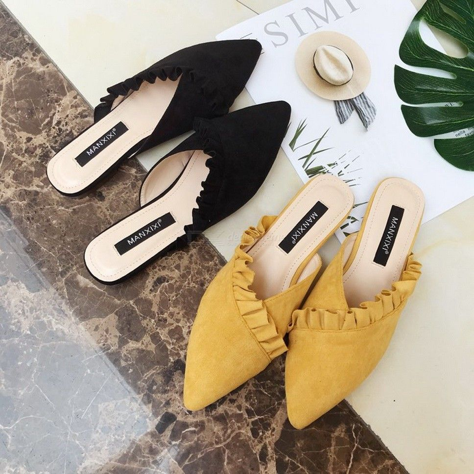 Pointed Sandals Suede Slide Womens Mule Toe Flats Closed 8PXknwO0