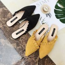 Womens-Mule-Closed-Pointed-Toe-Flats-Slide-Sandals-Suede-Upper