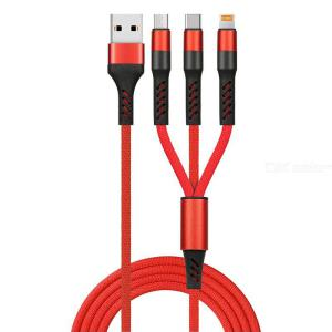 3 In 1 Multi Charging Charger Cable With USB Tpye-C  Micro USB  Lightning For Android IPhone - 1M