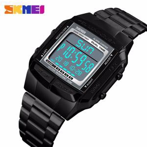 SKMEI 1381 Male Fashion Watch Square Stainless Steel Digital Business Wristwatch Waterproof Sports Watches