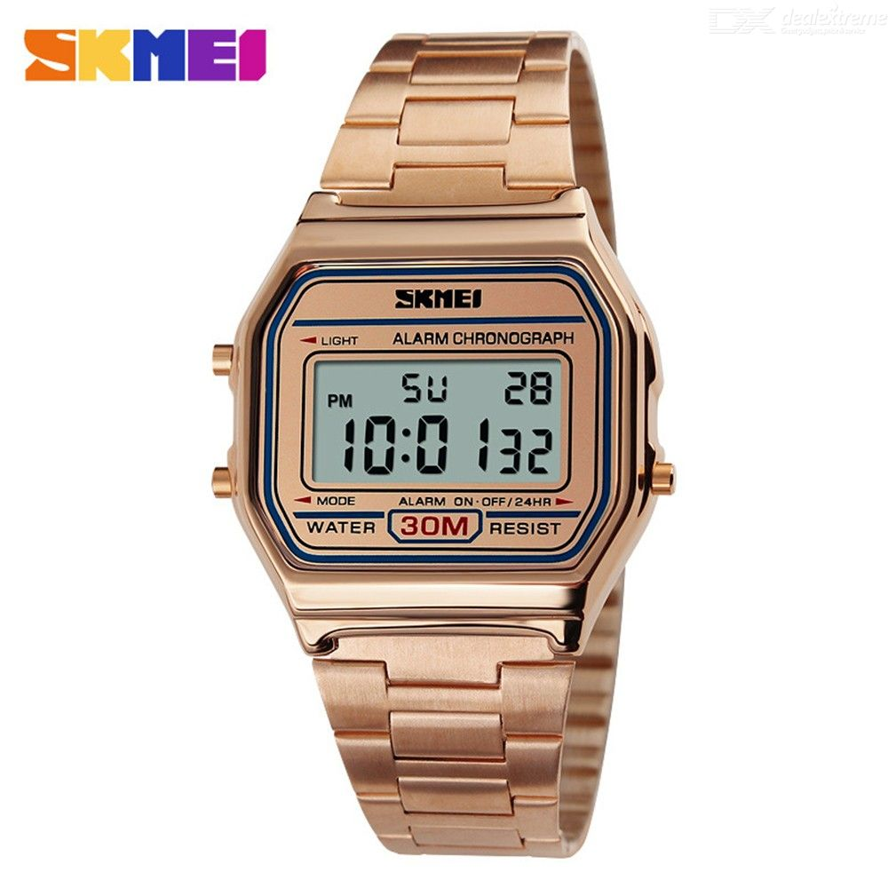 SKMEI 1123 Sports Watch  Male Waterproof Countdown Digital LED Watches Fashionable Stainless Steel Business Wristwatches