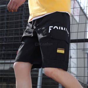 Male Summer Fashion  Safari  Style Short  Pants Cotton Knee-length Short  Trousers With  Letters  Pattern  For  Men