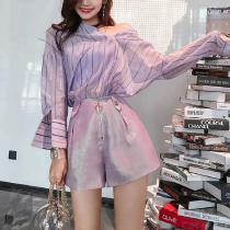3de10ce874 Womens Summer 2 Piece Outfits Set Long Sleeve Blouses Tops And Shorts  Lavender Rompers