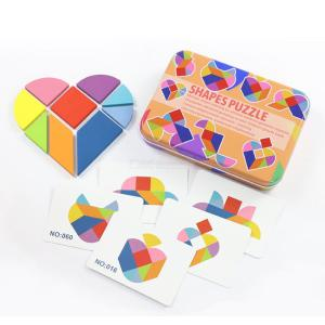 Learning Wooden Blocks Geometric Tangrams Set For Toddlers W 50pcs Design Cards