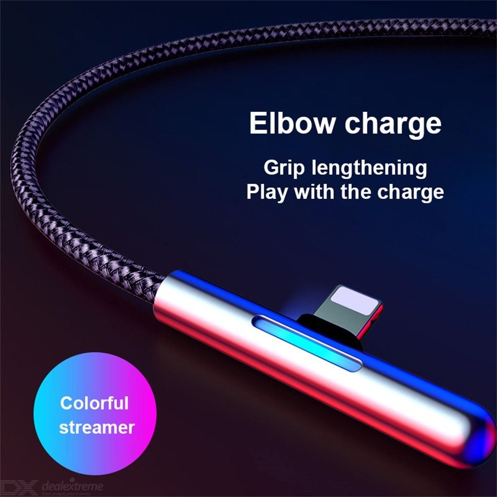 Baseus Light Up Charge Cable Left Angled Cable 2.4A Fast Charging Cord For IPHONE