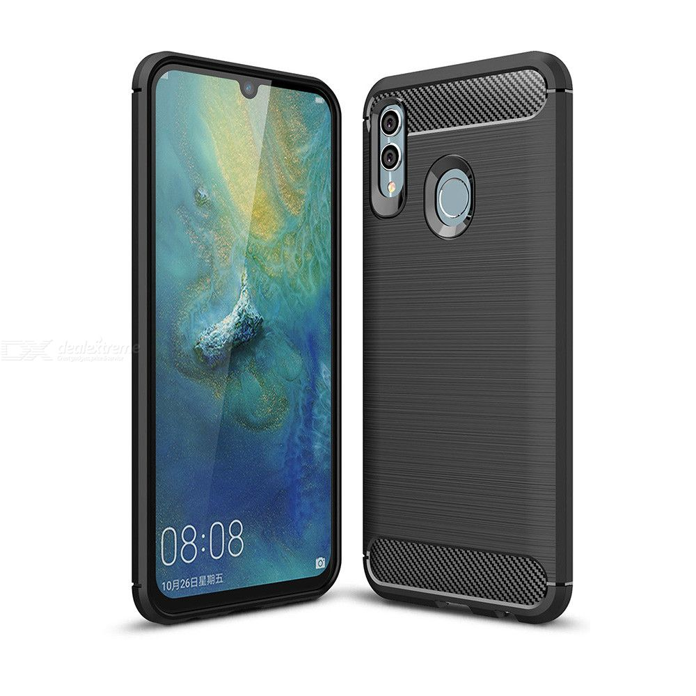 Naxtop Carbon Fiber Brushed Soft Back Cover Full Protective Phone Case For Huawei P Smart 2019