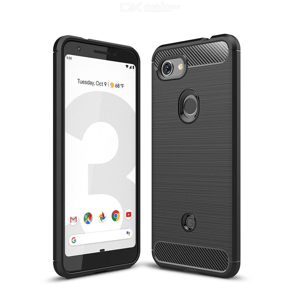 Naxtop Carbon Fiber Brushed Soft Back Cover Full Protective Phone Case For Google Pixel 3a