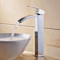Brass-Deck-Mounted-Ceramic-Valve-One-Hole-Chrome-Bathroom-Sink-Faucet-w-Single-Handle