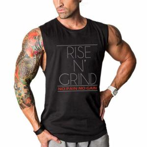 Summer Male Casual Fitness Tank Top  Loose Sleeveless O-neck  Sport  T-shirt  With  Letters Pattern For  Men