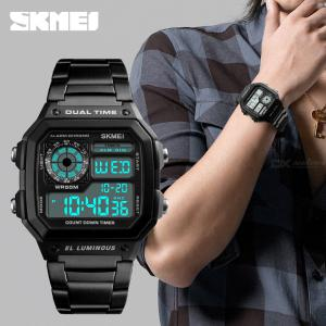 SKMEI 1335 Male Fashion Business Watch Stainless Steel Waterproof Digital  Square Wristwatches For Outdoor Sports