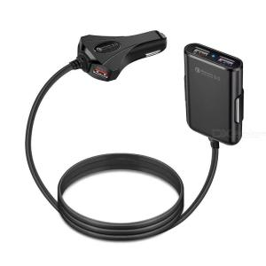QC3.0 Fast Charging Car Charger With 4 USB Ports and Extension Cable for Front Back Seat