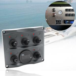 SP6002P-R-Z 5 Gang Rocker Switch Panel with Voltmeter for Marine Boat Car