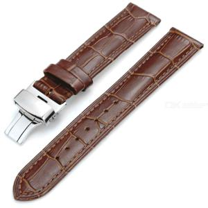 Genuine Leather Watch Strap Band Butterfly Buckle Watchband Watches Accessories