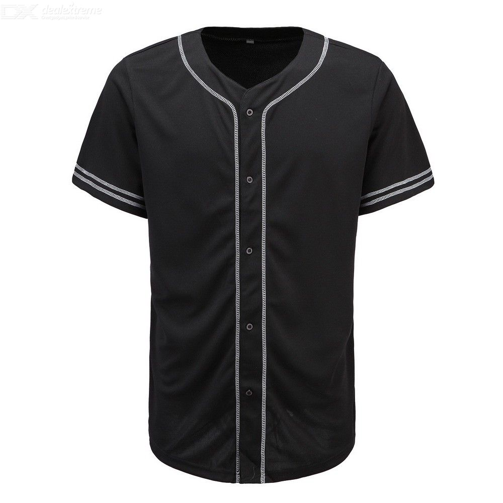 Mens Track T-shirt Simple Solid Button Down Baseball Tee Shirt