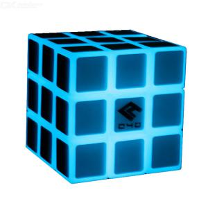 Blue Cool Magic Cube 3x3 Speed Cube Glow in Dark Speed Cube Brain Teasers Puzzle Toys - 57mm