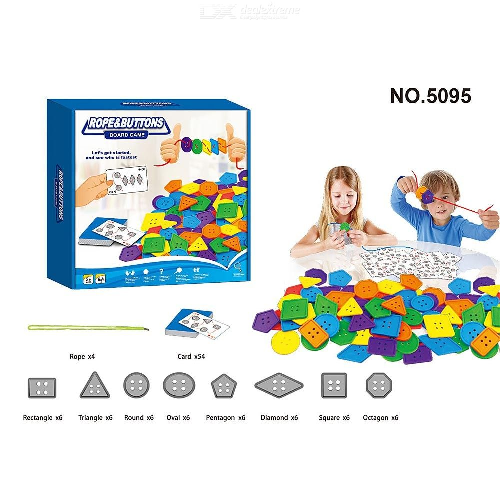 Kids Lacing Toy Rope And Button Board Game For Children Toddlers