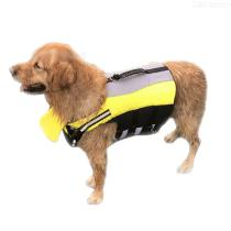 Dog-Life-Jacket-Pet-Safety-Swimsuit-With-Reflective-Stripes-And-Paddles-Under-Jaw