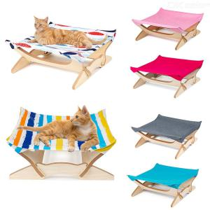 Removable Square Four-corner Wooden Hammock Breathable Cat  Beds Washable Pet  Mat  For Cats