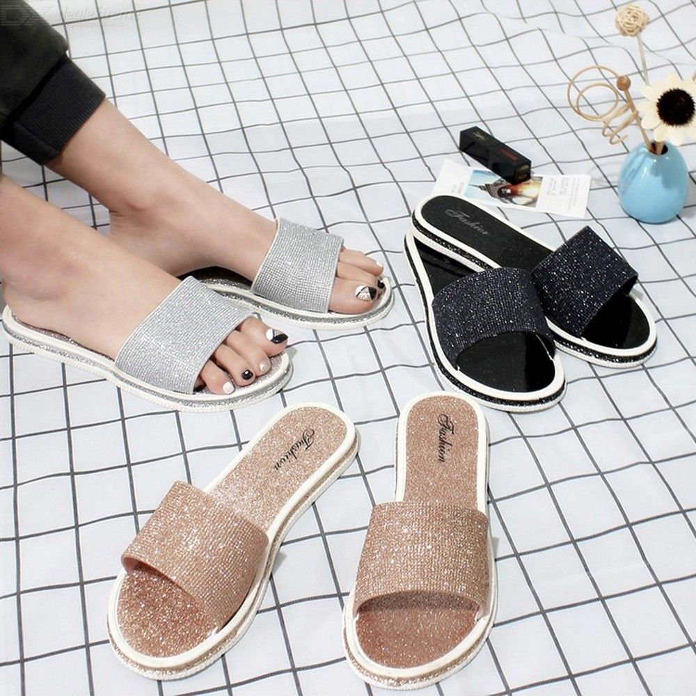 Glitter Beach Slippers Summer Open Toe Sandals Non-Slip Flat Shoes For Women Lad