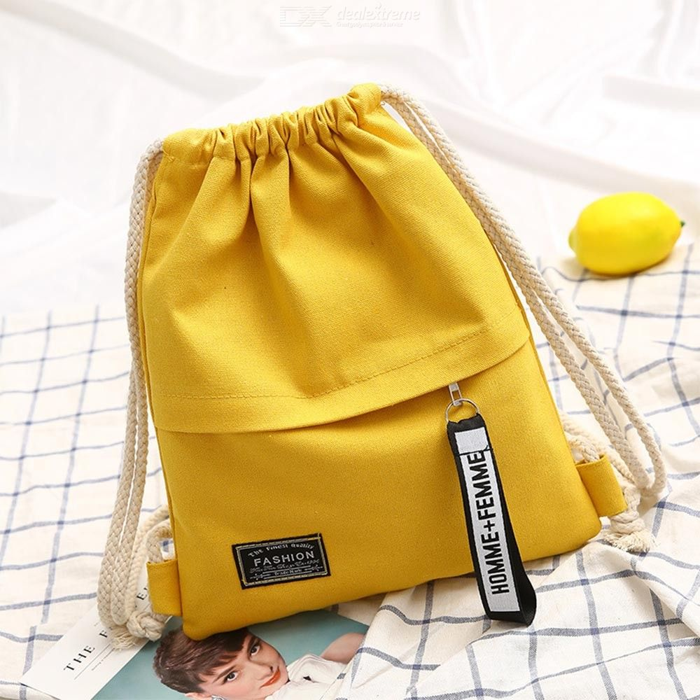 Drawstring | Portable | Backpack | Shoulder | Fashion | Casual | Canvas | Solid | Color | Women | Bag