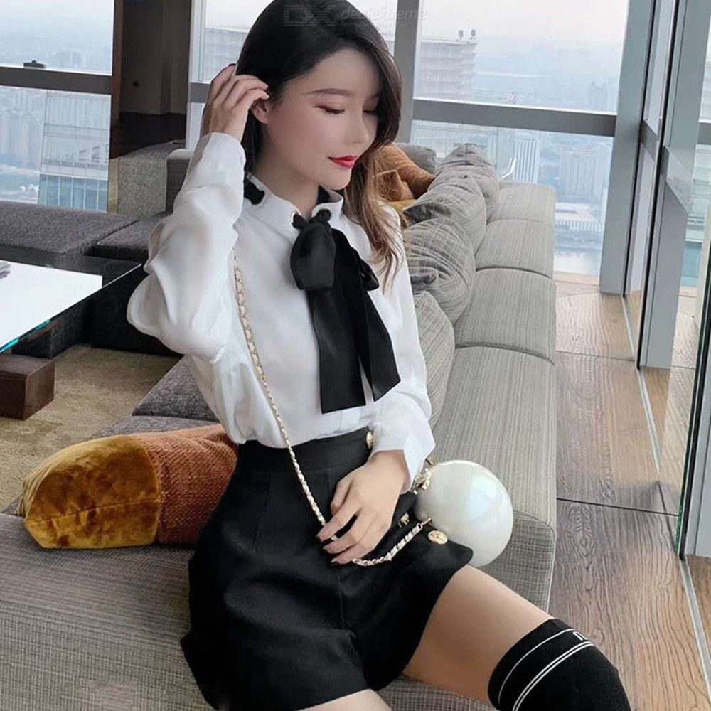 4b0bbd22c0 ... Womens Preppy Style Suit Long Sleeve Shirt With Bow + Hot Pants ...