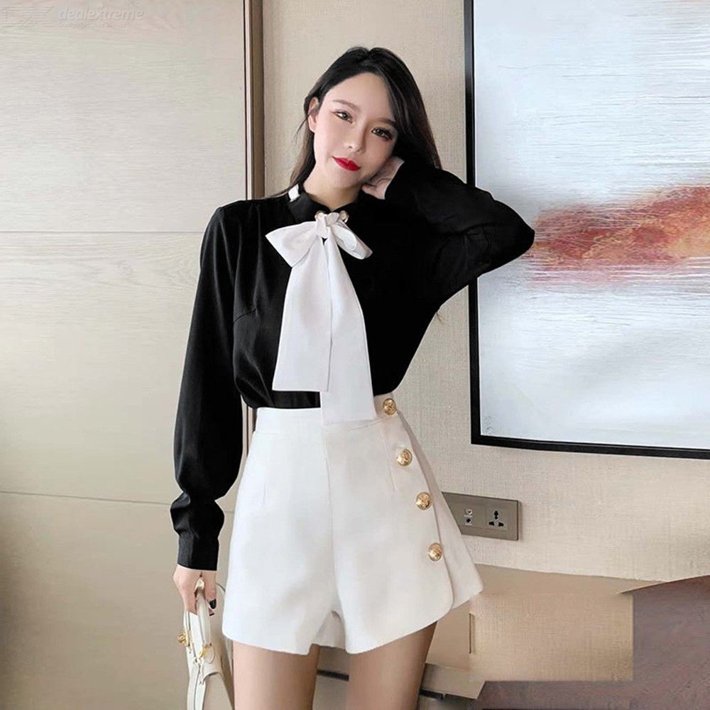 bc3d3ac26d Womens Preppy Style Suit Long Sleeve Shirt With Bow + Hot Pants ...