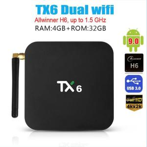 TX6 Android 9.0 TV-box, 4GB DDR3 32GB EMMC Dubbel Wifi 2.4G + 5G BT5.0 Quad Core 3D 4K Ultra HD H.265 USB 3.0 Smart TV-box