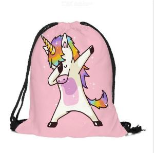 3D Printed Unicorn Drawstring Bag Storage Backpack Beach Travel Bags